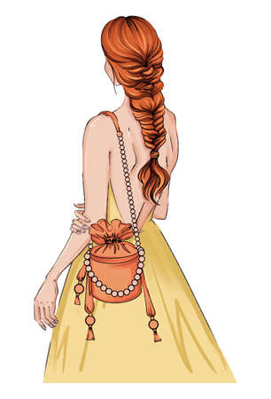 Hand drawn illustration woman in a dress with fashion bag. Beautiful fashion art girl stands with her back in a yellow dress. bride woman, stands hairstyle. Bridal card illustration dress, bag pearls