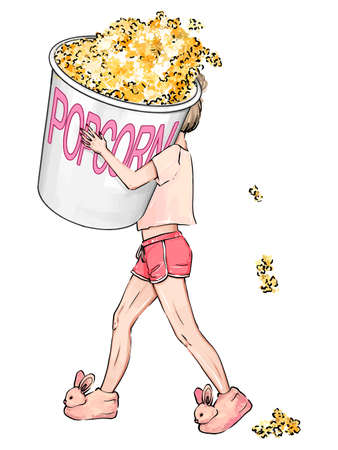 Woman with popcorn hand-drawn illustration. The girl is carrying a very large packet of popcorn. A girl in cute fluffy house slippers, bunnies, shorts and a T-shirt