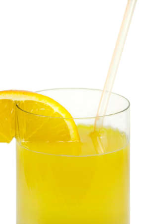 Glass with orange juice and an orange segment. On a white background photo