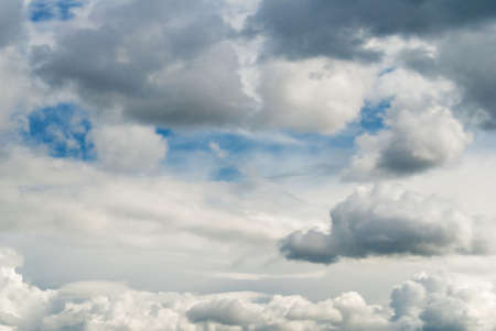 atmospheric phenomena: The blue sky with scattering white clouds