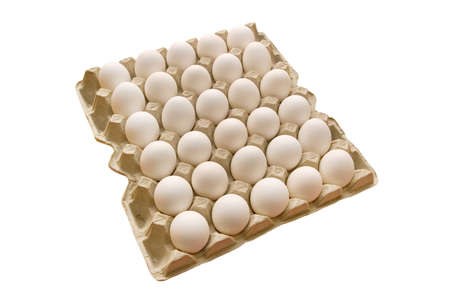 Many white eggs lay in cells. On a white background photo