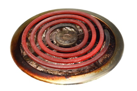 estufa: Un quemador de antiguo estilo de una estufa eléctrica aislado en blanco