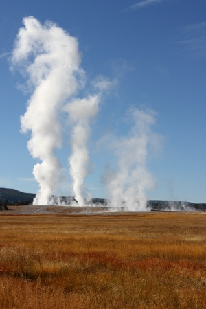 erupt: Steam rises from geysers resulting from active volcanism in Yellowstone National Park USA