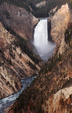 A magnificent view of the lower Yellowstone falls from Artist photo