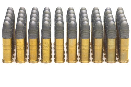 Group of .22 caliber bullets isolated on white  Stock Photo - 11571662