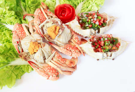 Crab to stream and spicy salad. Sea food menu Zdjęcie Seryjne - 42173794
