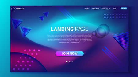Minimalist landing page design. Modern color gradient. UI design for website.