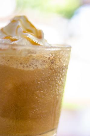 iced coffee: iced coffee with ice and cream Stock Photo