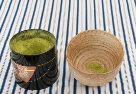 powdered: powdered green tea in cup Stock Photo