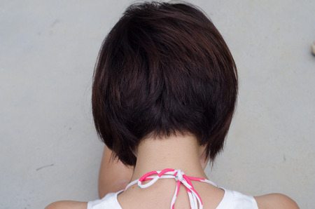 Beauty Woman black Short Hair. Close-up. Haircut. Hairstyle. Fringe. Stok Fotoğraf - 48938359