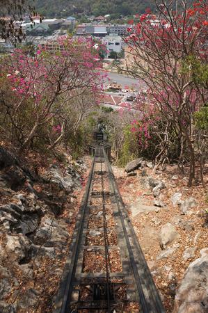 cobbled: cobbled street and tram track rail uphill, at the PHRA-NA-KHON-KHI-RI,  HISTORICAL, PARK , KhaoWang, PhetBuri, Thailand