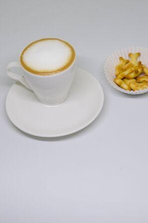 Cup of coffee, americano, espresso, white space, background, selective focus Фото со стока