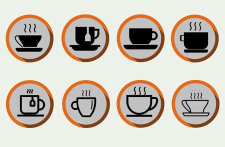 Set of coffee cup, tea cup, water cup with flat style vector can be used as Icon, Symbol or Logo. Vettoriali