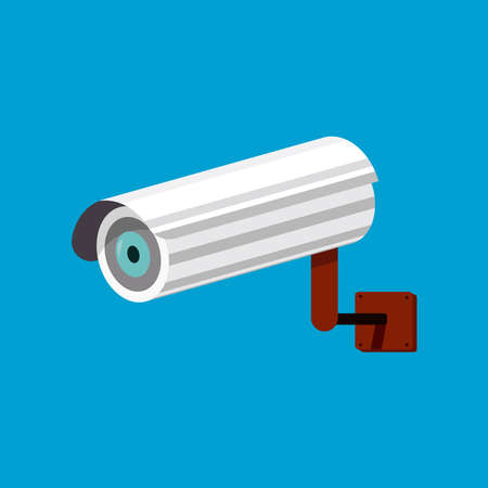 White CCTV isolated on cyan background vector illustration