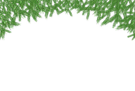 Green fir frame pattern isolated on white background vector design Ilustrace