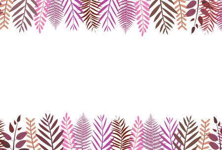 Leaf frame pattern on top and bottom with soft color vector illustration  イラスト・ベクター素材