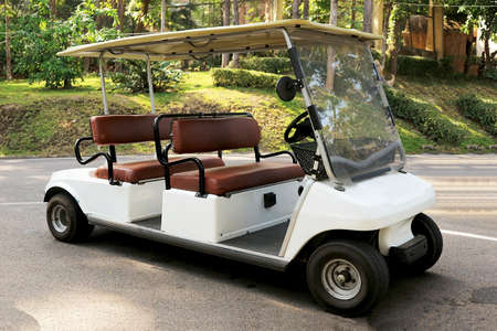 A White Golf Car in the City Park