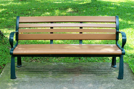 Outdoor Wooden Bench Isolated in the City Park