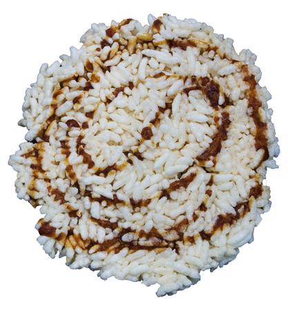 Khanom Nang Let , Rice Cracker  isolate in white background