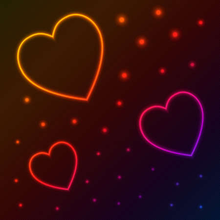 dark background with neon hearts and stars Vector
