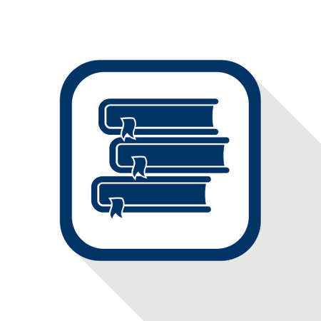 square icon books with long shadow