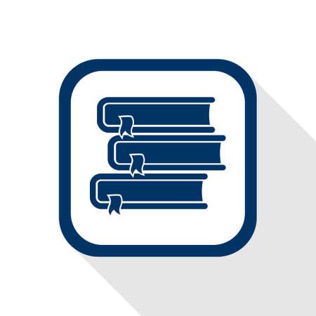 vierkant pictogram boeken met lange schaduw