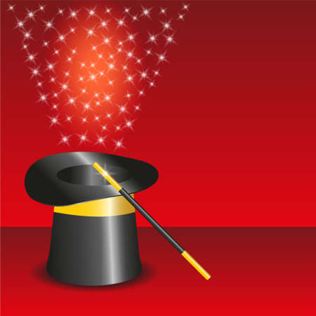 harry: black magic hat with stream of stars
