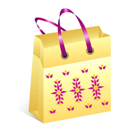yellow shopping bag with folk floral pattern Vector