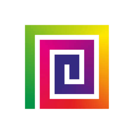 colorful spiral square element with rainbow gradient Vector