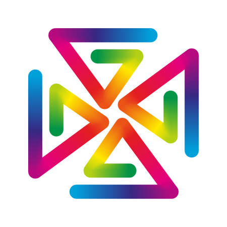 wind vane: abstract icon pinwheel with colorful spectrum