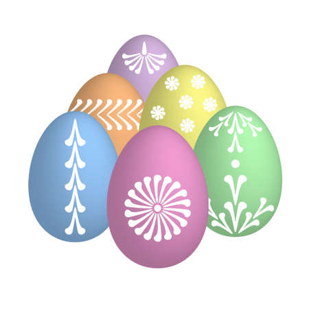 folksy: easter eggs with floral motive in pastel colors Illustration