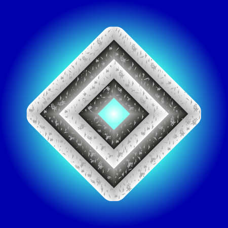rhombus with scratched surface on blue glowing background Illustration