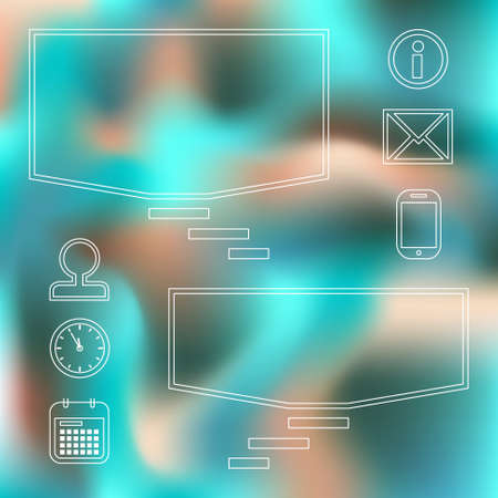 turquoise blue background with square speech bubbles and office  icons Vector