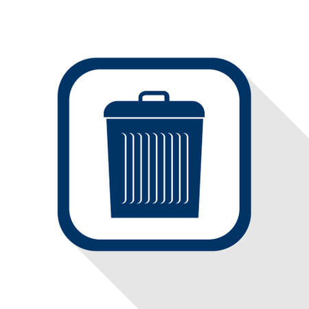 wastebasket: square blue icon delete with long shadow