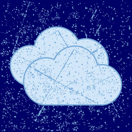grunge pattern: cloud image with grunge pattern on blue background Illustration