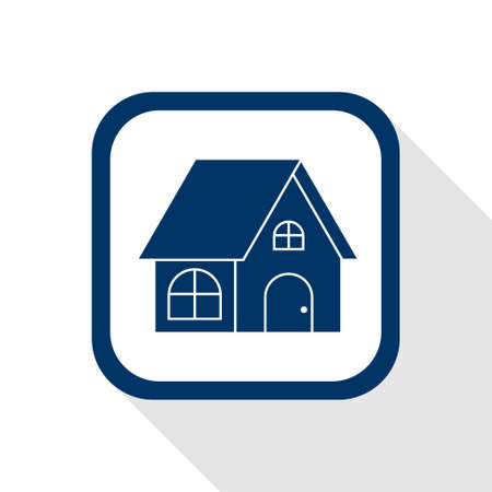 square blue icon home with long shadow Vector