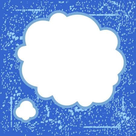 青いグランジ背景にヴィンテージ吹き出し  イラスト・ベクター素材