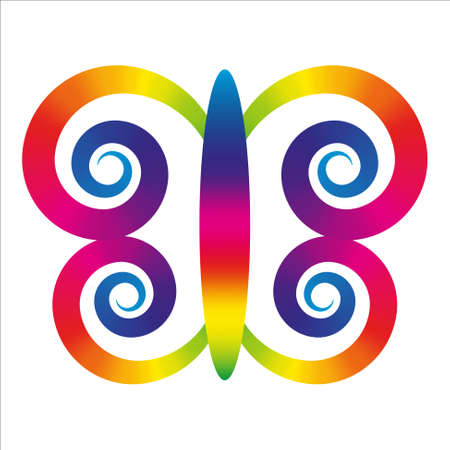 rainbow butterfly with wings in shape of spirals Stock Vector - 27440490