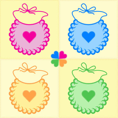 bibs: patchwork background with bibs and four leaf clover in pastel colors