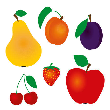 life jacket: collection of vector fruits - cherry, plum, apricot, strawberry, apple, pear Illustration