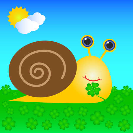 happy snail with shell eating green four leaf clover Vector