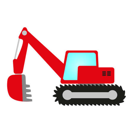 red crawler excavator with shovel, cab and undercarriage Vector