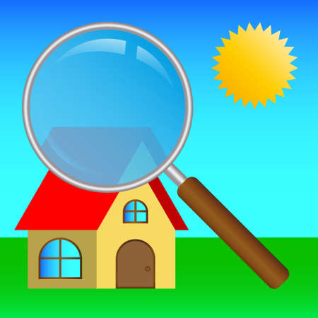 image search house with large magnifying glass and sun Ilustração