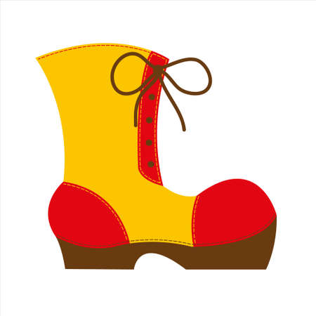 weighty: red and yellow big shoe with brown high sole and significant seams