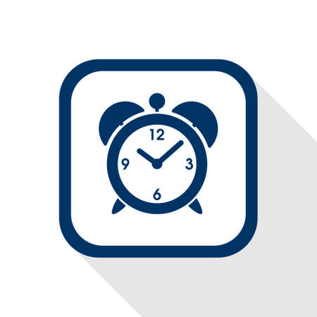 big timer: square blue icon alarm clock with long shadow Illustration