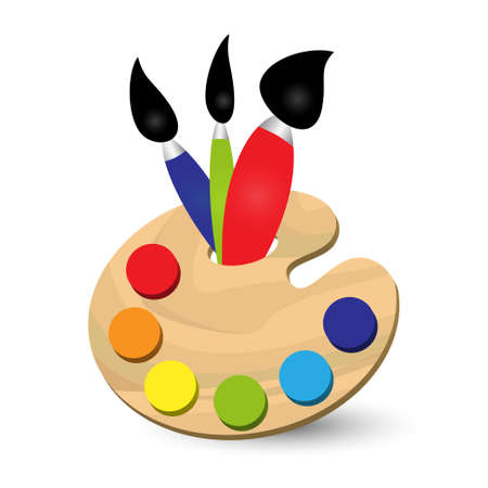 cartoon painter: painters palette with primary colors and three brushes