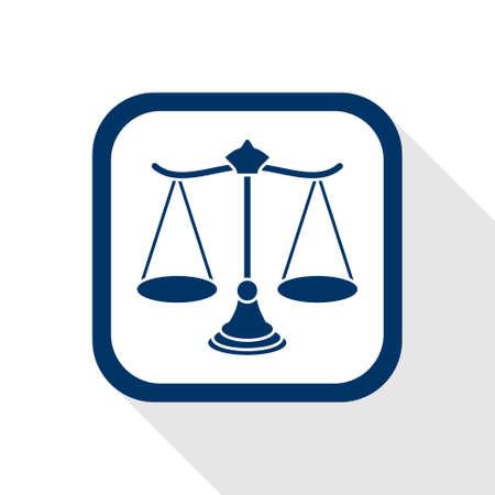 vierkante blauwe pictogram schaal met lange schaduw