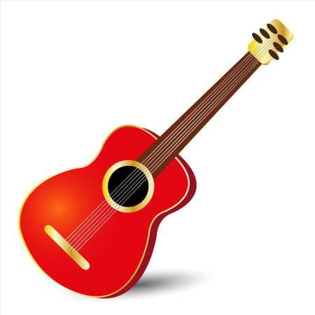 tuned: acoustic classical guitar in red color with gold details