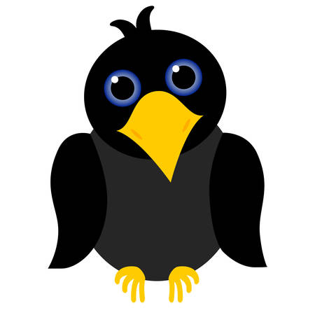 black crow cartoon with blue eyes and yellow beak Vector