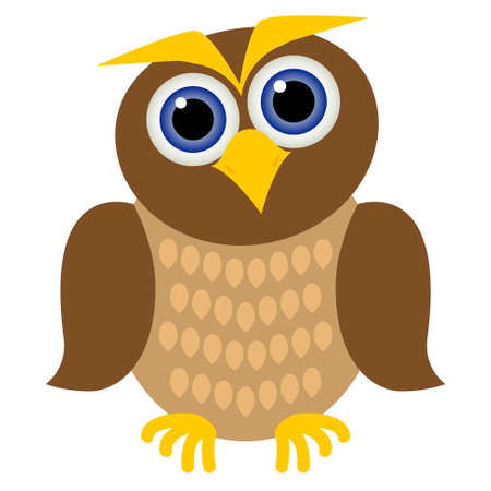 clever brown owl with blue eyes, yellow beak and feathers